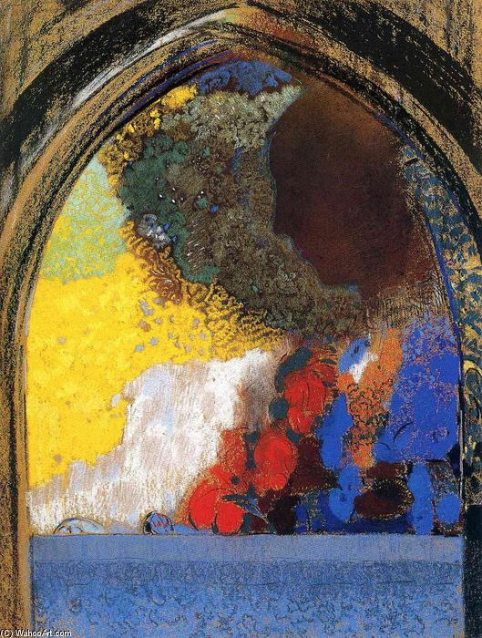 Woman In Profile Under A Gothic Arch by Odilon Redon (1841-1916, France)