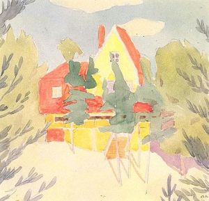 Oleksandr Bogomazov (Alexander Bogomazov) - Landscape with the house with red roof