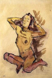 Oskar Kokoschka - Female nude seated on the ground