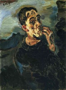 Oskar Kokoschka - Self-Portrait with Hand by his face.