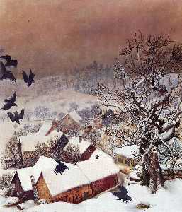 Otto Dix - Randegg in the snow with ravens