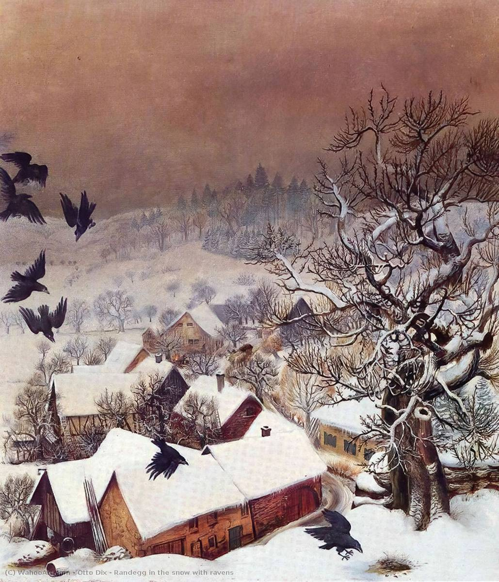 Randegg in the snow with ravens by Otto Dix (1891-1969, Germany) | Oil Painting | WahooArt.com