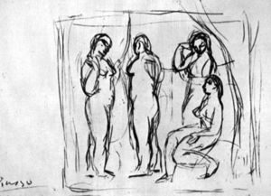 Pablo Picasso - Study to --Girls from Avignon--