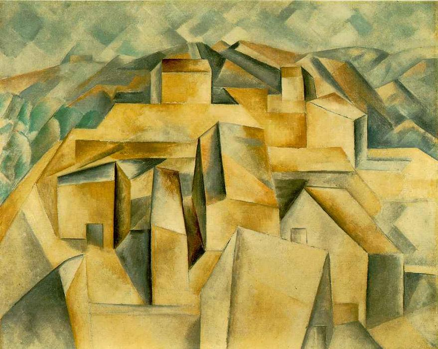 Houses on the hill, 1909 by Pablo Picasso (1881-1973, Spain) | Art Reproduction | WahooArt.com