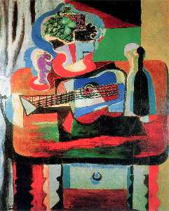 Pablo Picasso - Guitar, bottle, fruit dish and glass on the table