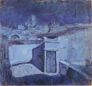 Pablo Picasso - The roofs of Barcelona in the moonlight