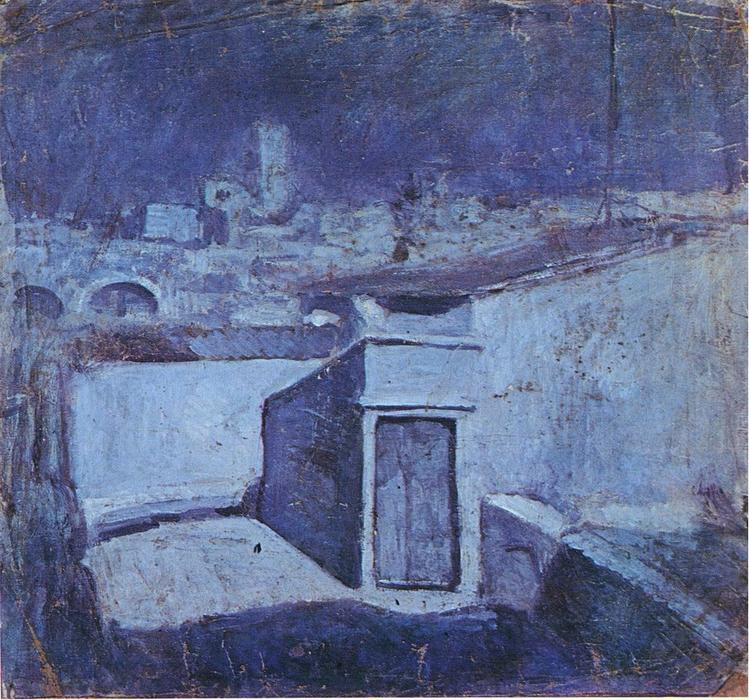 The roofs of Barcelona in the moonlight, Oil On Canvas by Pablo Picasso (1881-1973, Spain)