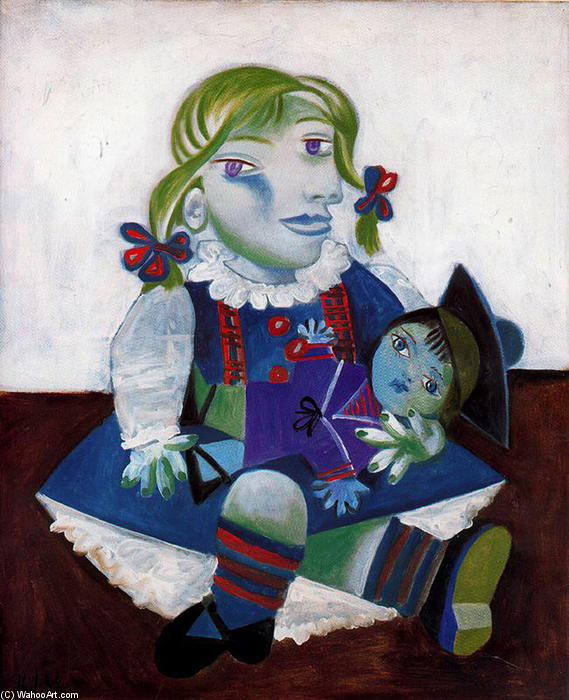 Portrait of Maya with her doll, 1938 by Pablo Picasso (1881-1973, Spain) |  | WahooArt.com