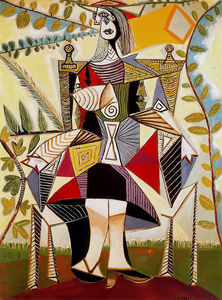 Order Famous Paintings Reproductions : Seated woman in garden, 1938 by Pablo Picasso (1881-1973, Spain) | WahooArt.com