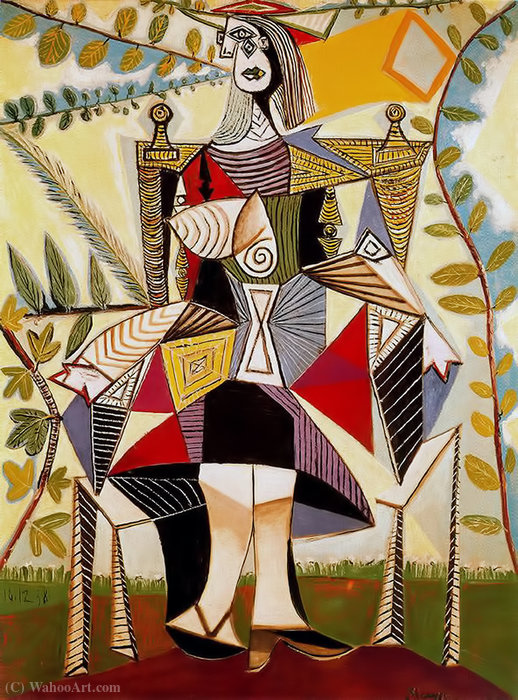 Seated woman in garden, 1938 by Pablo Picasso (1881-1973, Spain) | Famous Paintings Reproductions | WahooArt.com