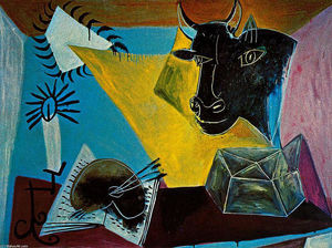 Pablo Picasso - Still life with a bull-s head, book and candle range