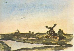 Pablo Picasso - Dutch landscape with windmills