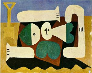 Pablo Picasso - Naked woman on the beach and shovel