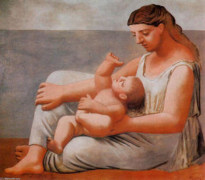 Pablo Picasso - Woman with child on the seashore