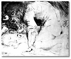 Pablo Picasso - Minotaur caressing a sleeping woman