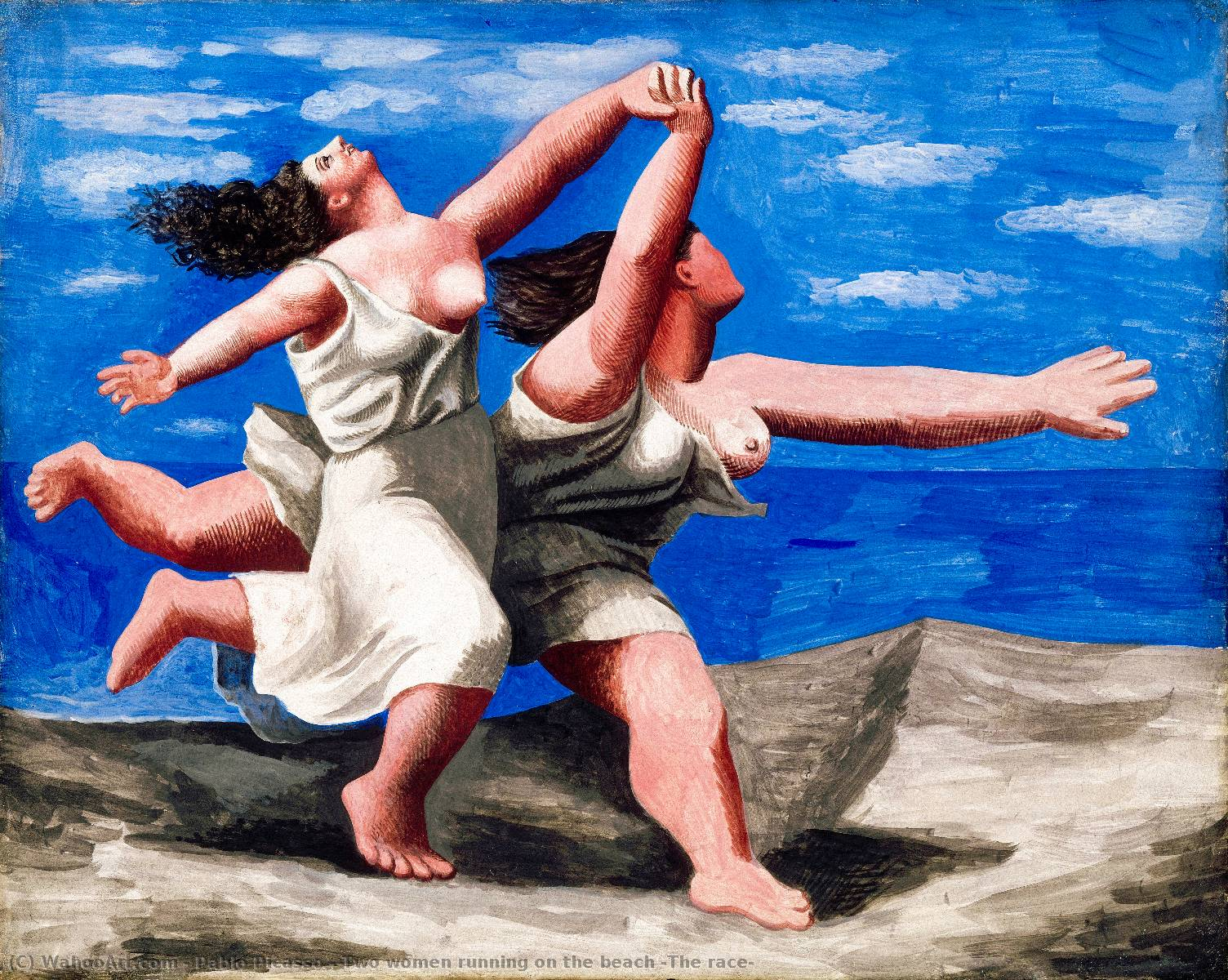 Two women running on the beach (The race), 1922 by Pablo Picasso (1881-1973, Spain) | Famous Paintings Reproductions | WahooArt.com