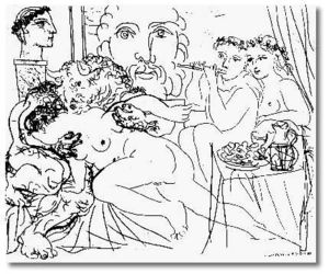 Pablo Picasso - Minotaur caressing a woman