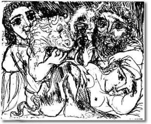 Pablo Picasso - Minotaur,drinker and women