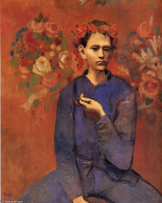 A boy with pipe, Oil On Canvas by Pablo Picasso (1881-1973, Spain)