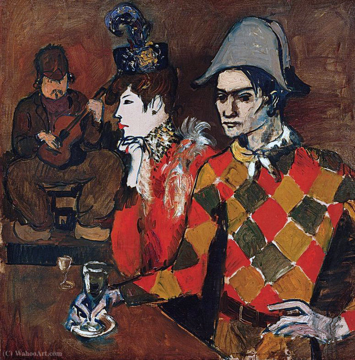 At ''Lapin Agile'' (Harlequin with Glass), Oil On Canvas by Pablo Picasso (1881-1973, Spain)