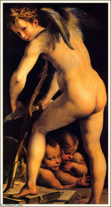 Parmigianino - Amor Carving His Bow