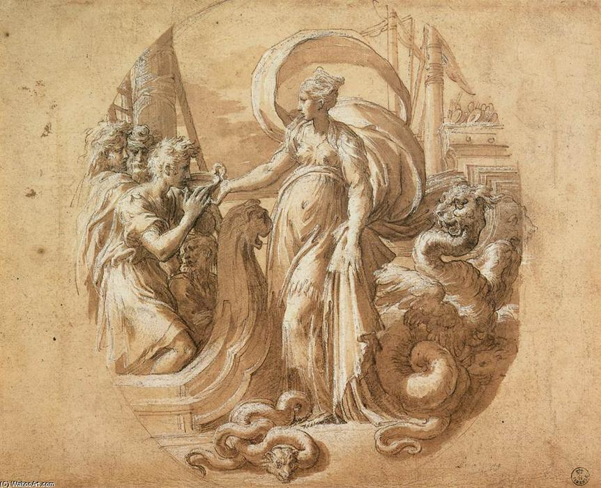 Circe and the Companions of Ulysses, 1527 by Parmigianino (1503-1540, Italy) | Reproductions Parmigianino | WahooArt.com