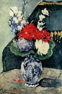 Paul Cezanne - Still life, Delft vase with flowers