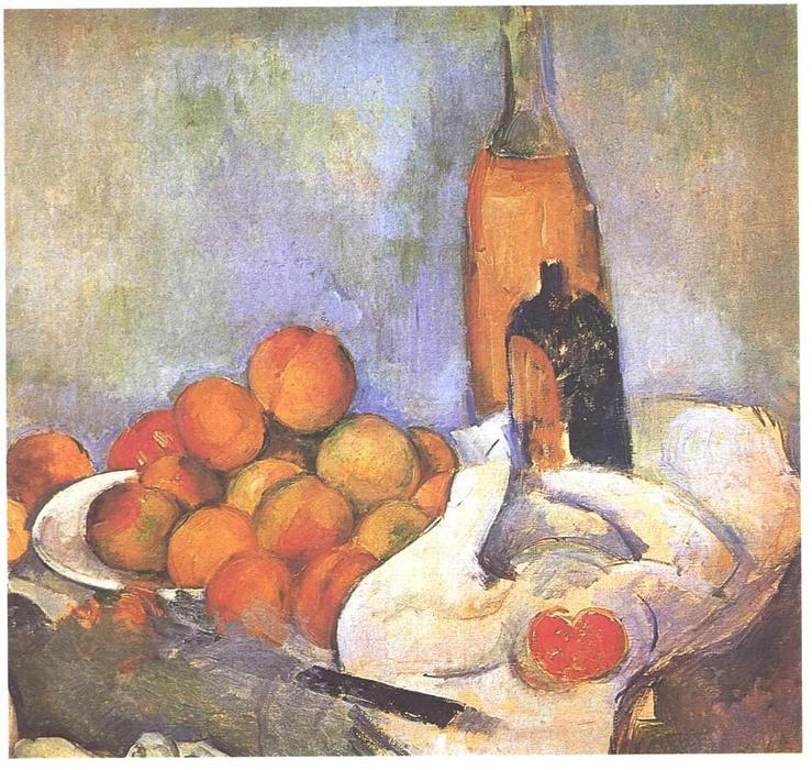 Still life with bottles and apples by Paul Cezanne (1839-1906, France) | Art Reproductions Paul Cezanne | WahooArt.com