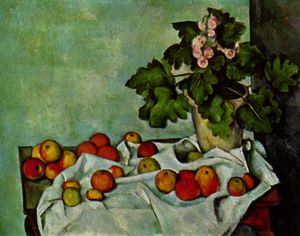 Paul Cezanne - Still life with fruit geraniums Stock