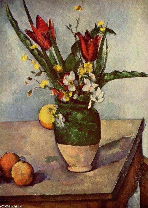 Still Life, Tulips and apples, 1894 by Paul Cezanne (1839-1906, France) | Oil Painting | WahooArt.com