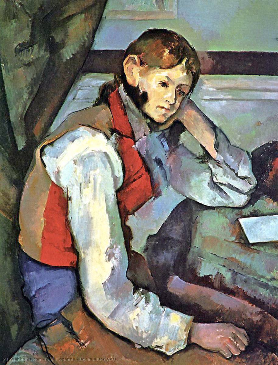 Order Art Reproduction : Boy in a Red Vest, 1889 by Paul Cezanne (1839-1906, France) | WahooArt.com