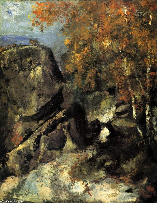 Rock in the Forest of Fontainbleau, 1868 by Paul Cezanne (1839-1906, France) | WahooArt.com