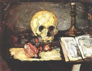 Paul Cezanne - Still life with skull, candle and book