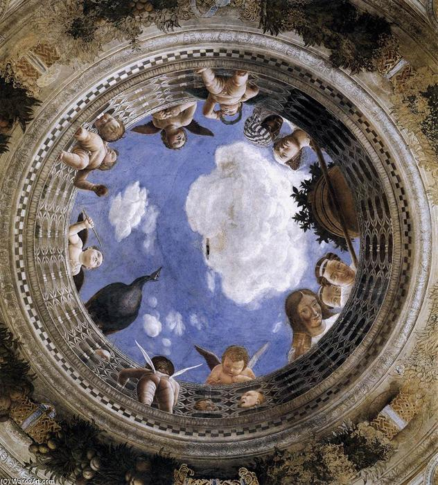 Ceiling Oculus, Frescoes by Andrea Mantegna (1431-1506, Italy)