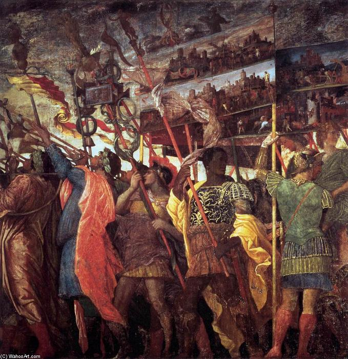 The Triumphs of Caesar: Trumpeters and Standard-Bearer, Tempera by Andrea Mantegna (1431-1506, Italy)