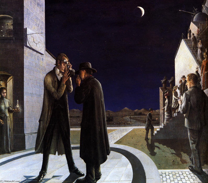 Phases of the Moon III , Oil On Canvas by Paul Delvaux (1897-1994, Belgium)