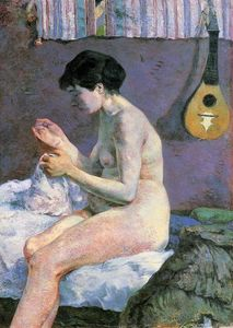 Paul Gauguin - Suzanne Sewing - Study of a Nude
