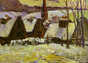Paul Gauguin - Breton village under snow