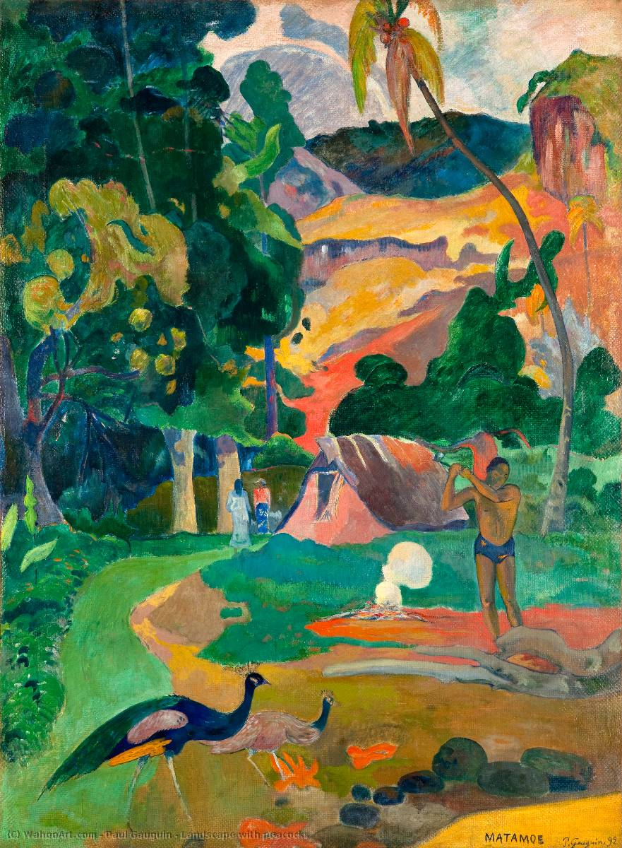 Landscape with peacocks, Oil On Canvas by Paul Gauguin (1848-1903, France)
