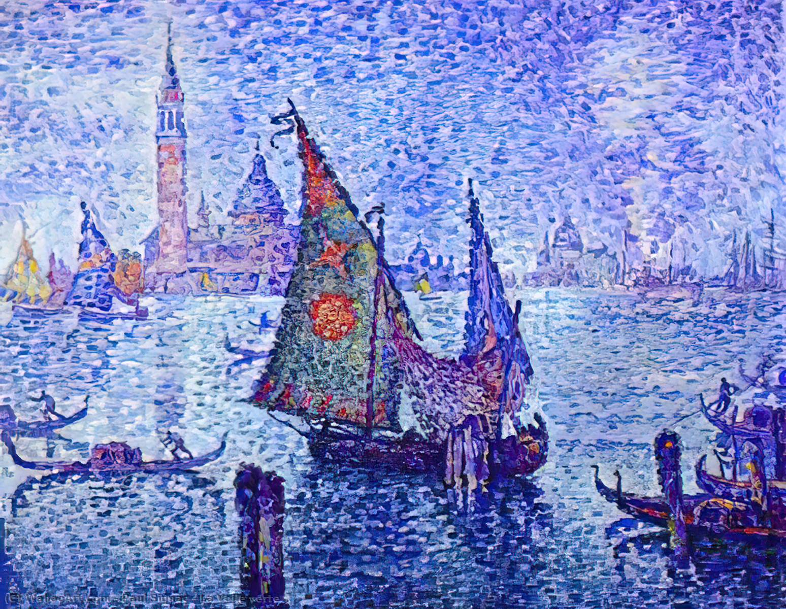 La Voile verte, Oil On Canvas by Paul Signac (1863-1935, France)