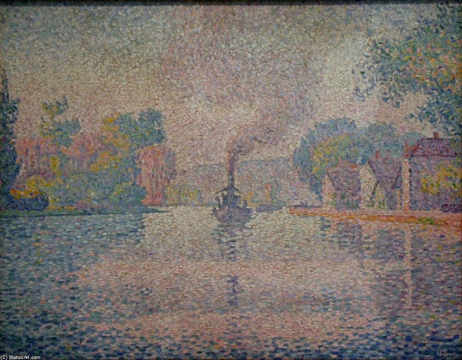 L`Hirondelle Steamer on the Seine, 1901 by Paul Signac (1863-1935, France) | Museum Art Reproductions Paul Signac | WahooArt.com