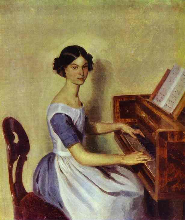 Portrait of Nadezhda P. Zhdanovich at the Piano, Oil On Canvas by Pavel Fedotov (1815-1852)