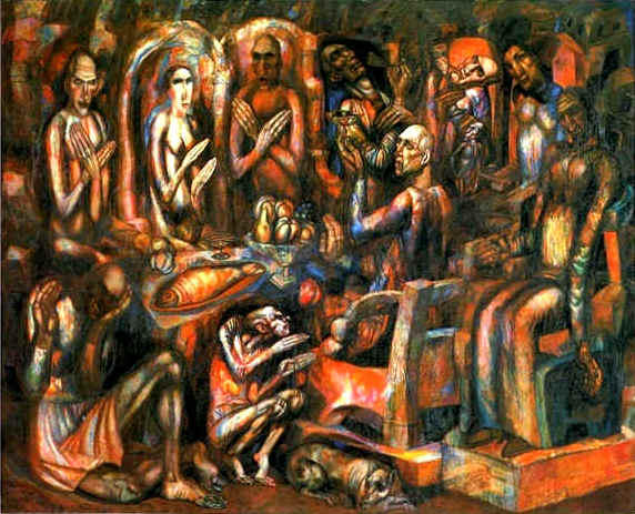 Feast of Kings, 1913 by Pavel Filonov (1883-1941, Russia) | Famous Paintings Reproductions | WahooArt.com