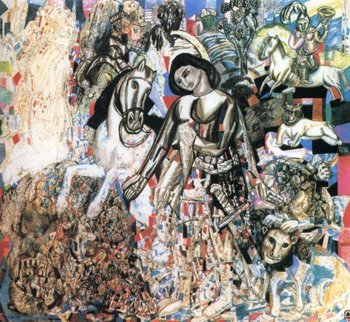 Untitled (St. George the Victorious), 1915 by Pavel Filonov (1883-1941, Russia) | WahooArt.com