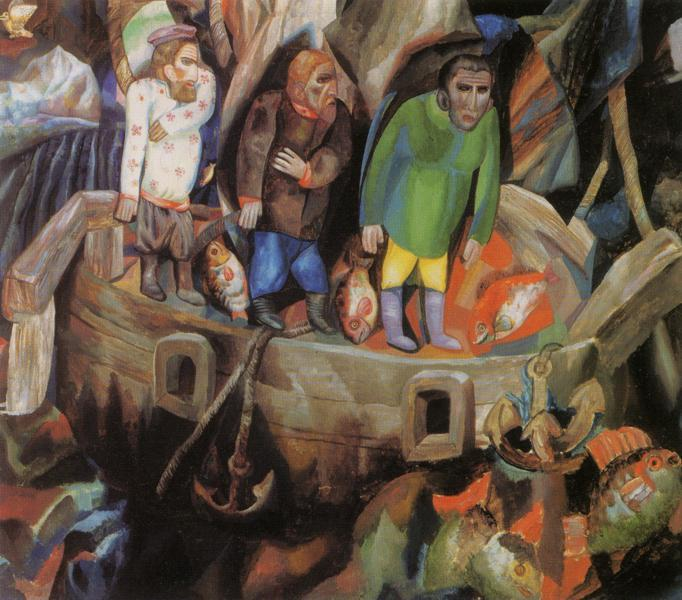 West and East, Oil On Canvas by Pavel Filonov (1883-1941, Russia)