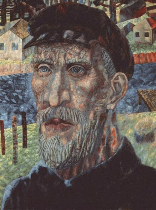 The Kolkhoznik (Member of a Collective Farm), Oil by Pavel Filonov (1883-1941, Russia)