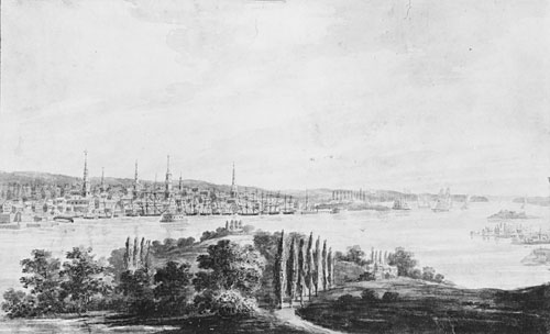 New York City and Harbor from Weehawken, 1812 by Pavel Svinyin | Painting Copy | WahooArt.com