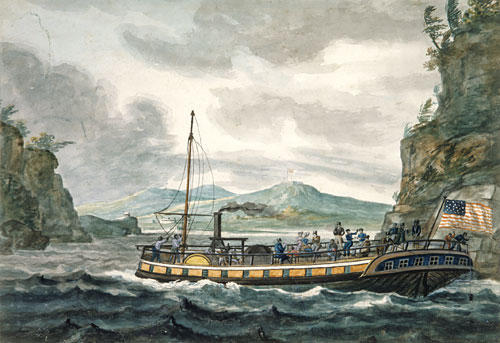 Steamboat Travel on the Hudson River, 1812 by Pavel Svinyin