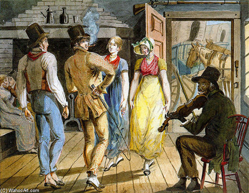 Merry Making at the Wayside Inn, 1812 by Pavel Svinyin | Famous Paintings Reproductions | WahooArt.com