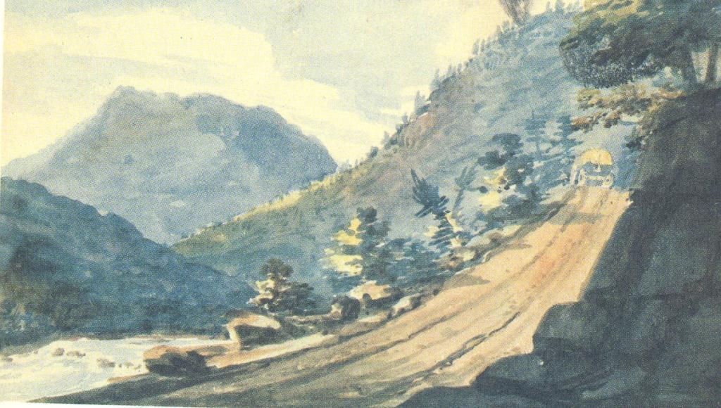 The road in the mountains, 1812 by Pavel Svinyin | Art Reproduction | WahooArt.com
